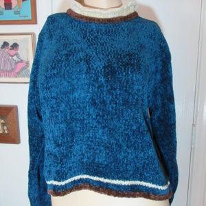 ARIZONA JEAN CO. Blue Velour Sweater in Medium